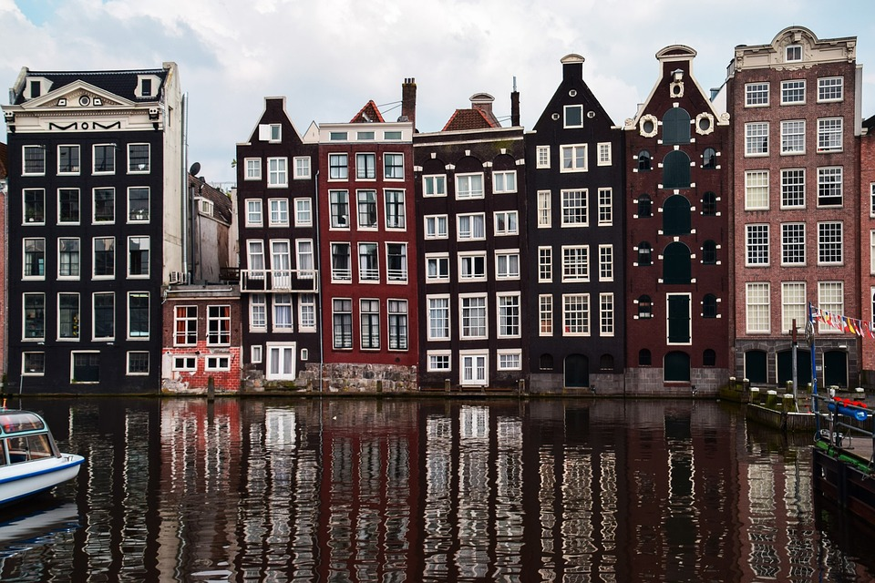 Beautiful building of Amsterdam near the canal