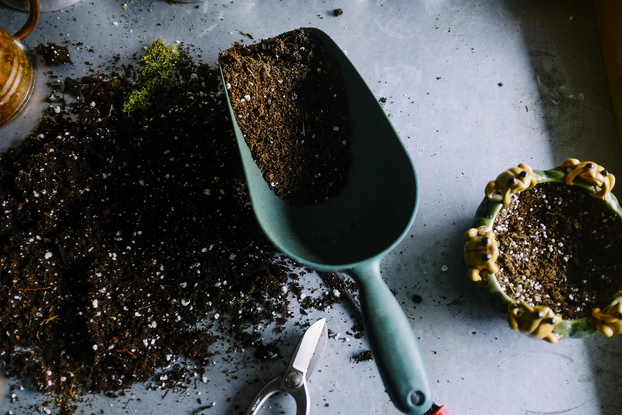 Little hand shovel and soil on a table